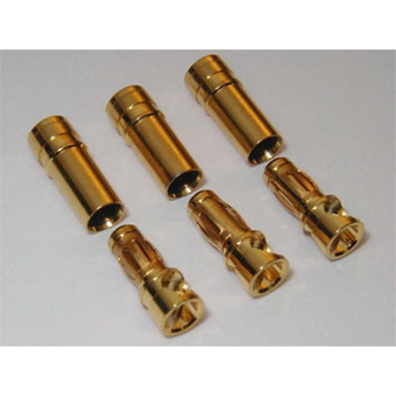 Conectores cortos 6 mm dorados